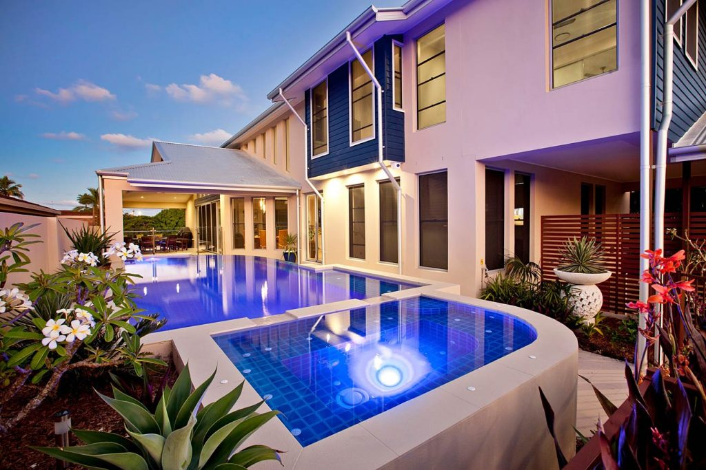tiles swimming pool with rendered external walls