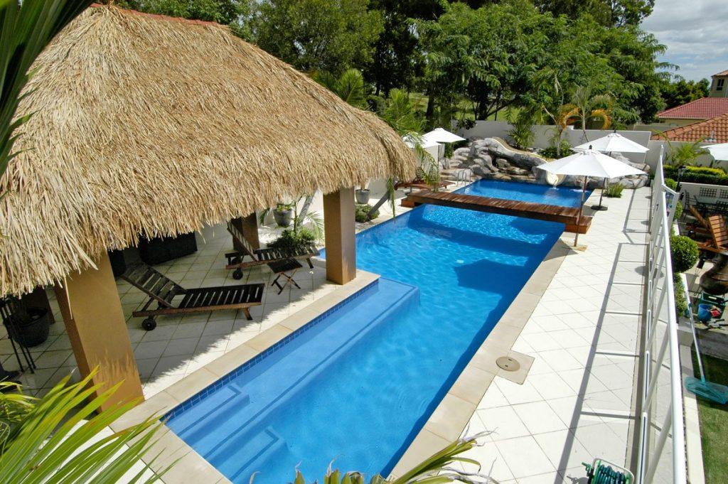 Balinese influenced concrete pools